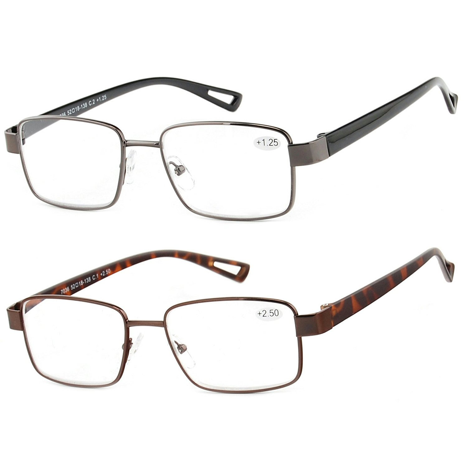 8d2a98ce25a Get Quotations · Reading Glasses Set of 2 Metal Rim Readers Fashion TR90 Lightweight  Comfort Frames for Men and