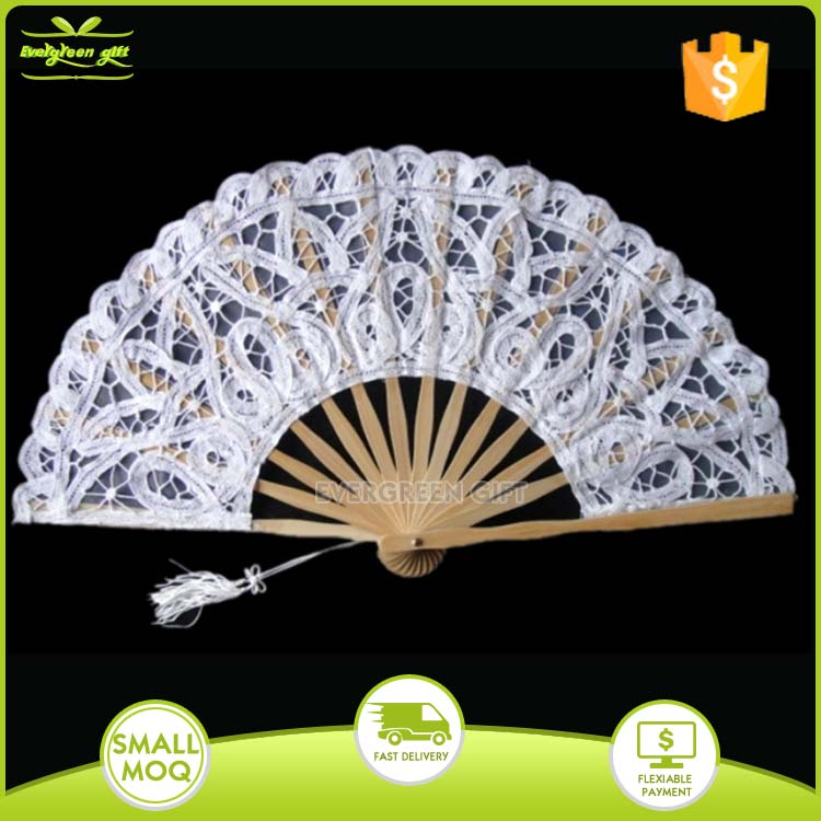 Folk style wedding favor white lace bamboo hand fans