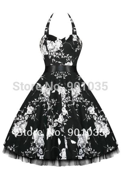 508e62d576dc Get Quotations · free shipping Rockabilly 50s Vintage Retro Polka Dot Black  White Swing Dress Plus size 8-