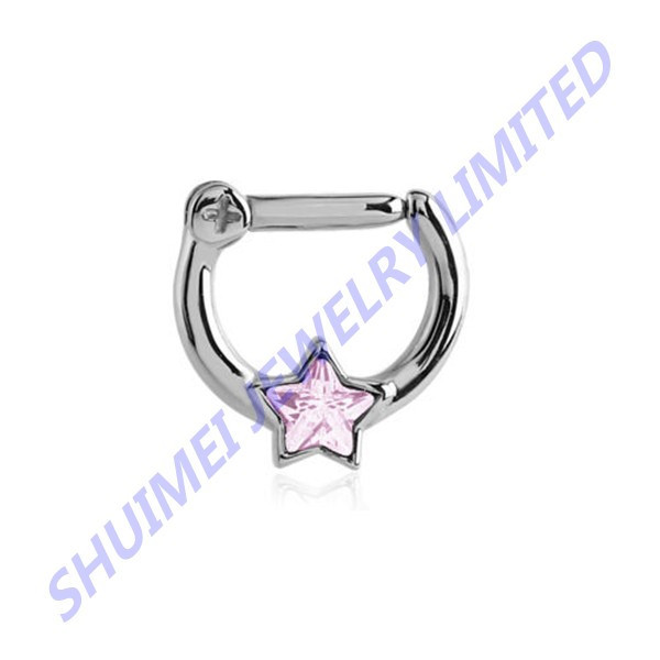 Septum Clicker Nose Ring Hoop Ear Cartilage Helix Pink Star CZ 14g