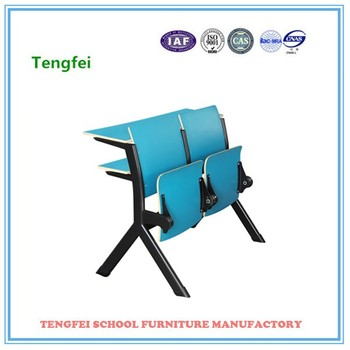 Blue Lecture Metal Frame Chair With Studing Table For Ladder Classroom