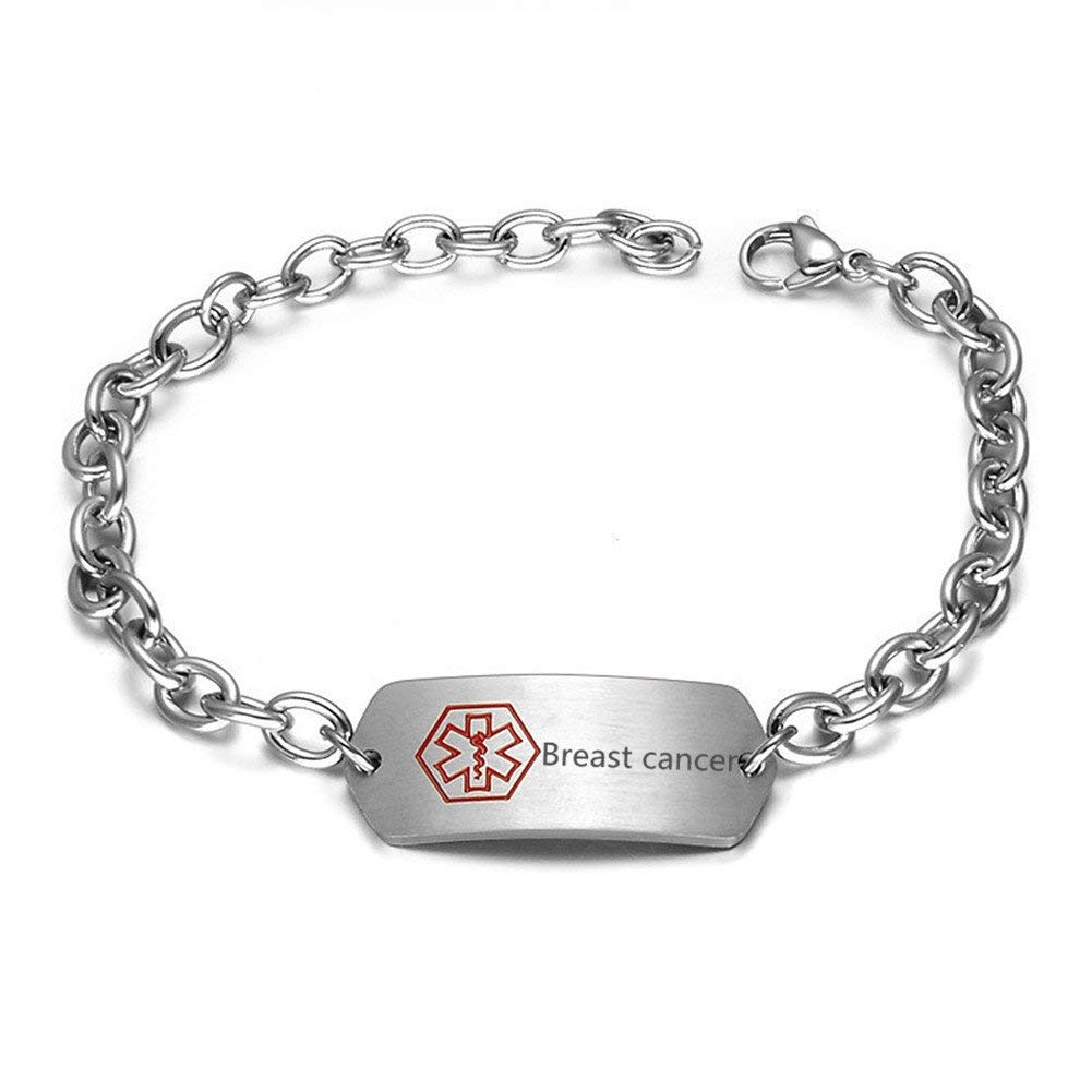 Comfybuy Stainless Steel Medical Alert Awareness Bracelet for Emergency,Free Engraving-Life Saver With Box