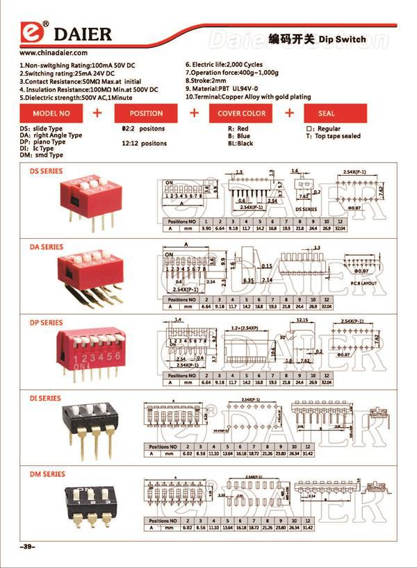 2.54mm Piano Type Dip Switch 8 Way 8 Pin Dip Switch Datasheet And 12