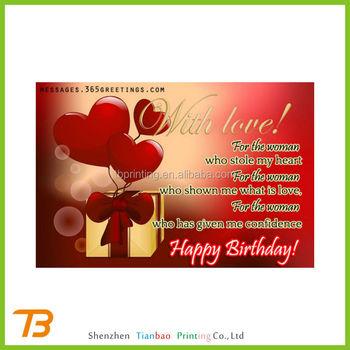 Top Aangepaste Romantische Gelukkige Verjaardag Papieren Kaarten Voor  #OF63