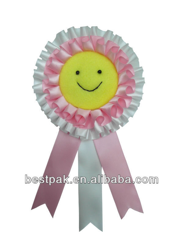 fancy handmade pretty pink and white brooch with smile face