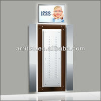 wood acrylic light box mirror composed wall mounted eyewear display