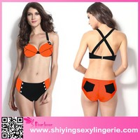Orange Thick Straps Top Match Studded sexi open photo Thong Swimsuit