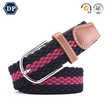Elastic Canvas Unisex Braided Casual Trousers Buckle Belt fabric belt with genuine leather ending