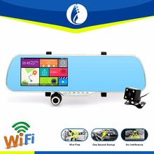 Android car black box rearview mirror with Parking Camera with Dashcam, 5 Inch Screen, GPS, wifi