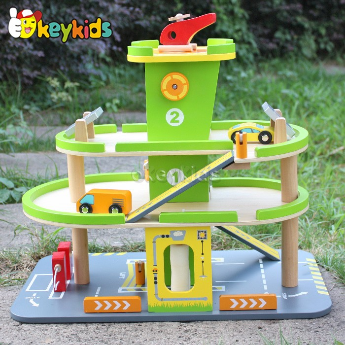 Wholesale interesting wooden baby parking lot toy played in kindergarten W04B027