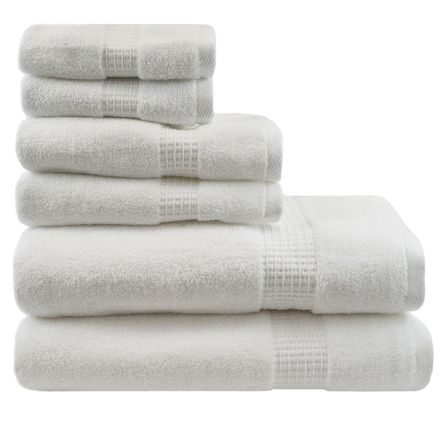 6 Piece White Solid Color Towel Set With 30 X 54 Inches Bath Towels, Light White Textured Check Border Stripe Plush Low Twist Loop Terry Absorbent Luxurious Soft Elegant Modern Towels, Cotton
