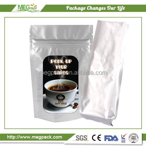 Customized Printed Stand Up Zipper Coffee Pouch With Valve/stand up coffee pouch with zip