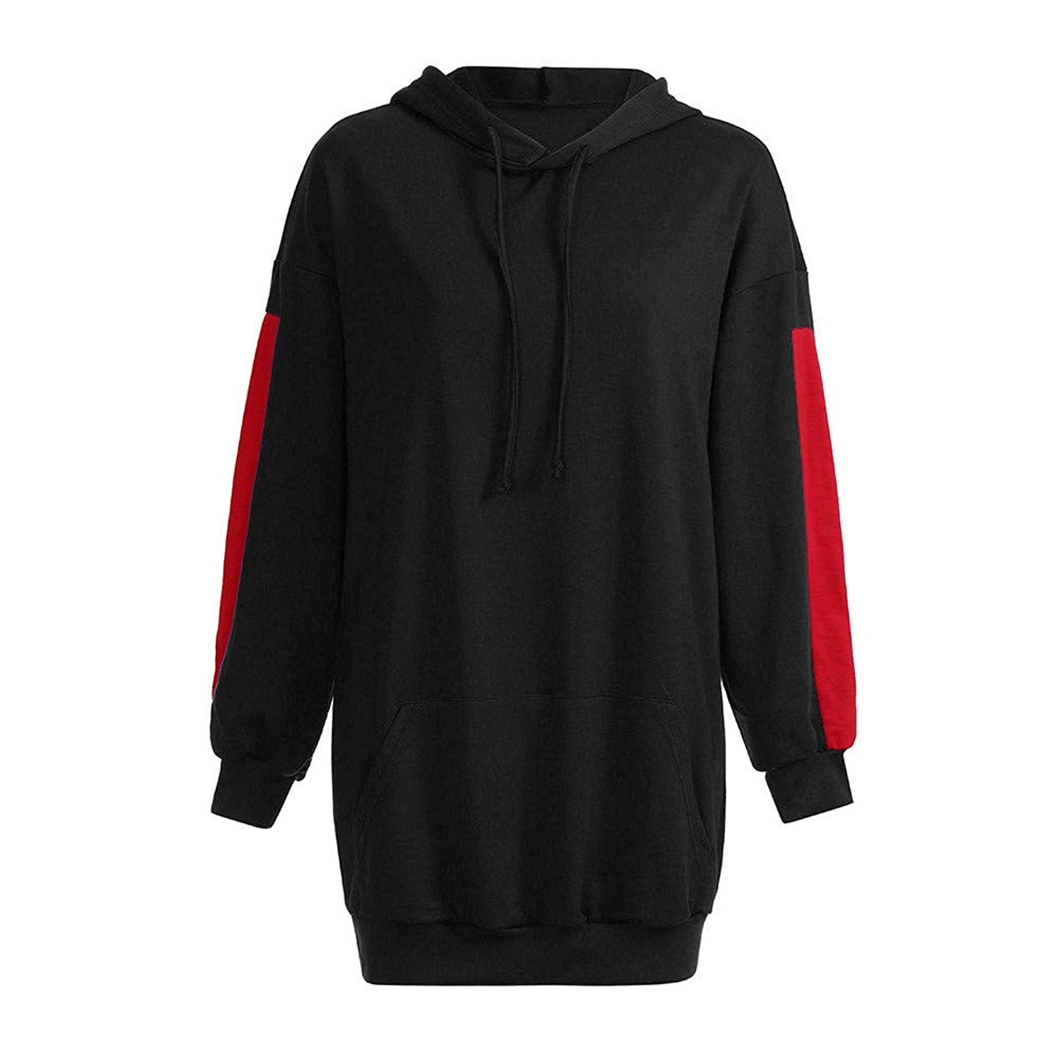 8be12639863831 Get Quotations · Autumn Solid Patchwork Drawstring Hoodie Dress Loose Fit Long  Sleeve Tunic Sweatshirt Pullover Long Tops with