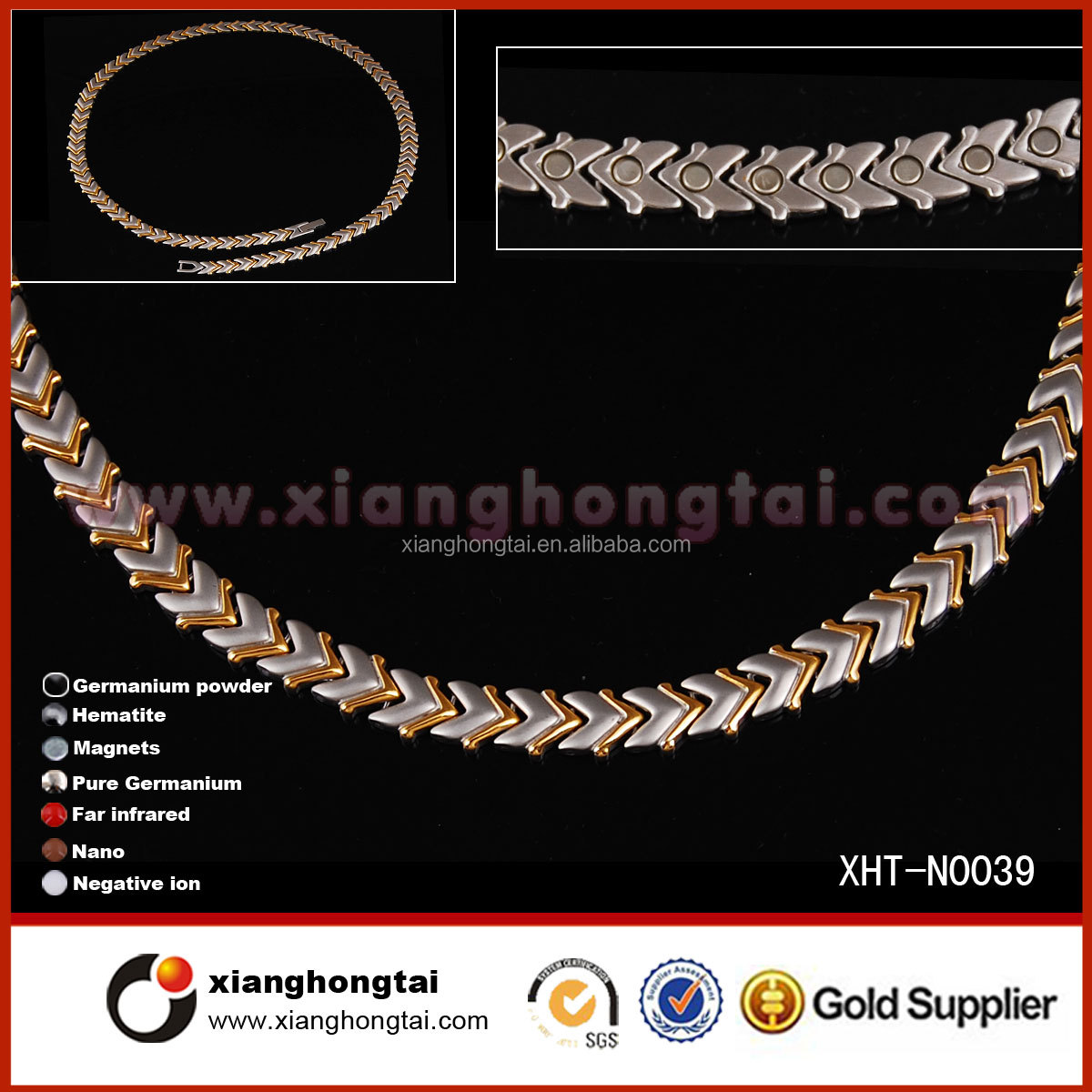 Cheap Wholesale Fashionable Gold Necklace with 3000 guass Magnet bracelet necklace