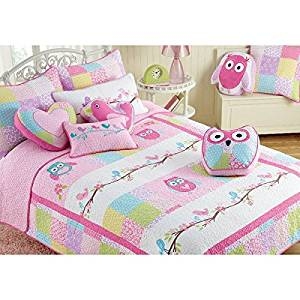 3 Piece Pink Girls Happy Owls Themed Quilt Queen Set, Gorgeous Colorful Pretty Birds,Flowery, Square Pattern, Beautiful Elegant Embroidery Print, Reversible Bedding, Abstract Pink Blue Green