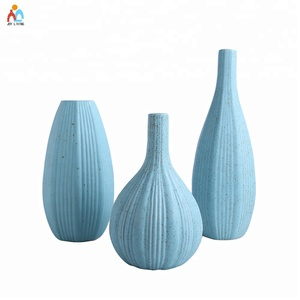Elegant design matt blue glazed ceramic vase for home decoration