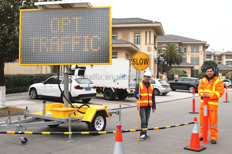 Led Variable Message Board Sign Trailer One Color Traffic