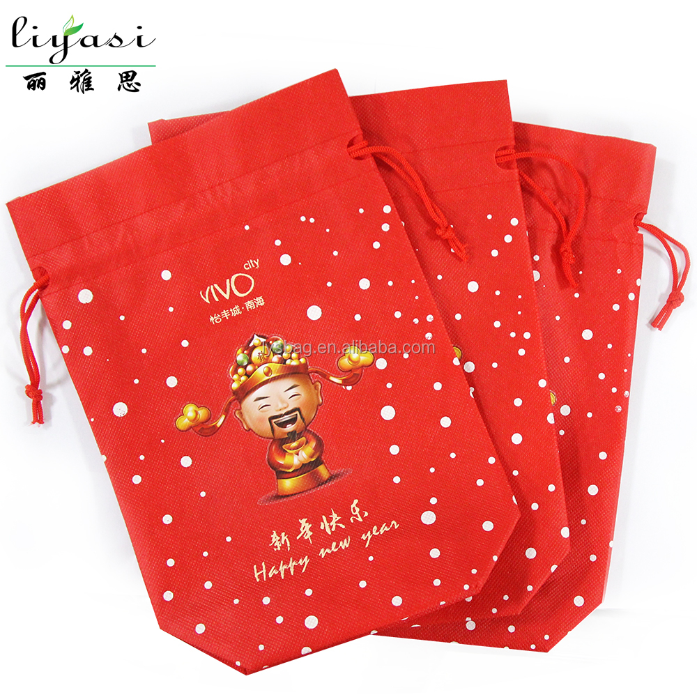 Red Christmas Drawstring Gift Bags Non Woven Fabric Material