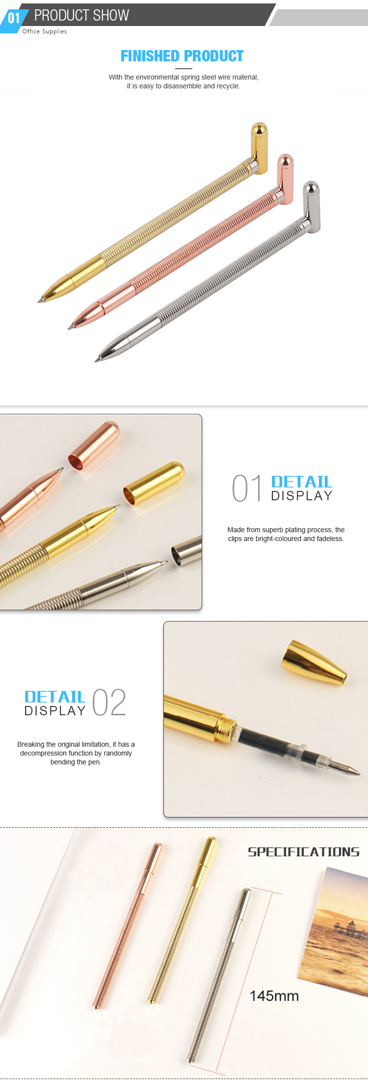 Promotional Free Samples Price Funny Metal Gold Gel Spring Pen