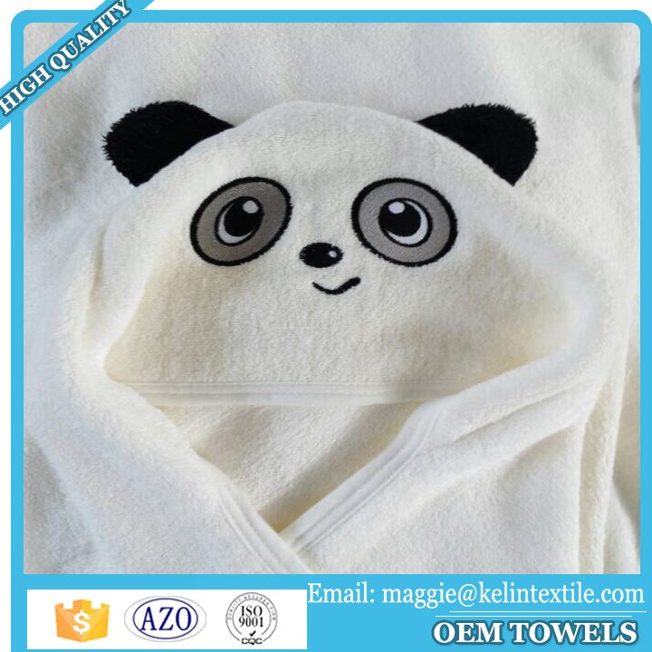 Custom design super soft white panda 100% bamboo baby hooded towel