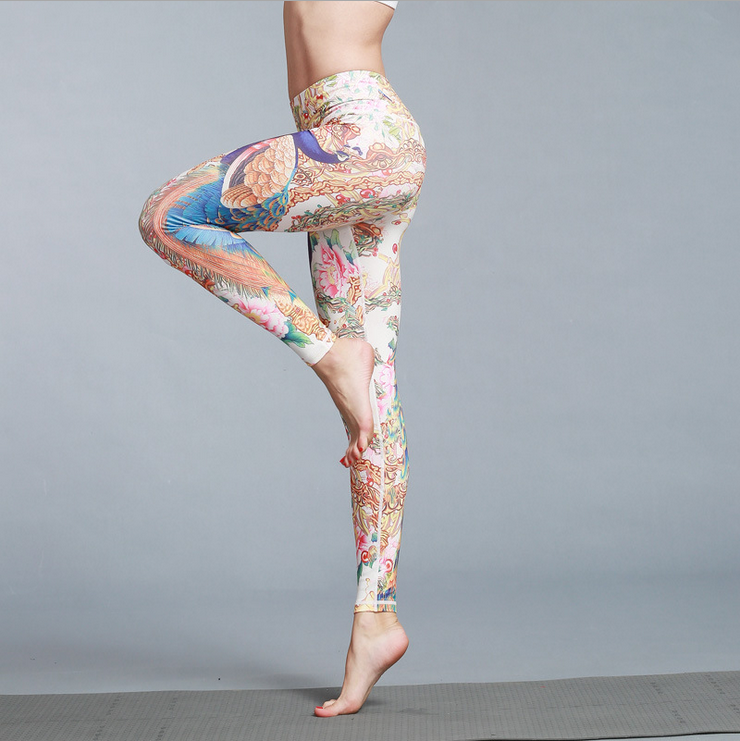 2017 Low MOQ Private label wholesale fitness activewear leggings women printed workout yoga pants