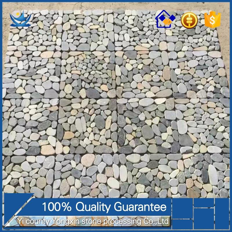 American style decoration exterior wall Pebbles sliced stone mosaic tile