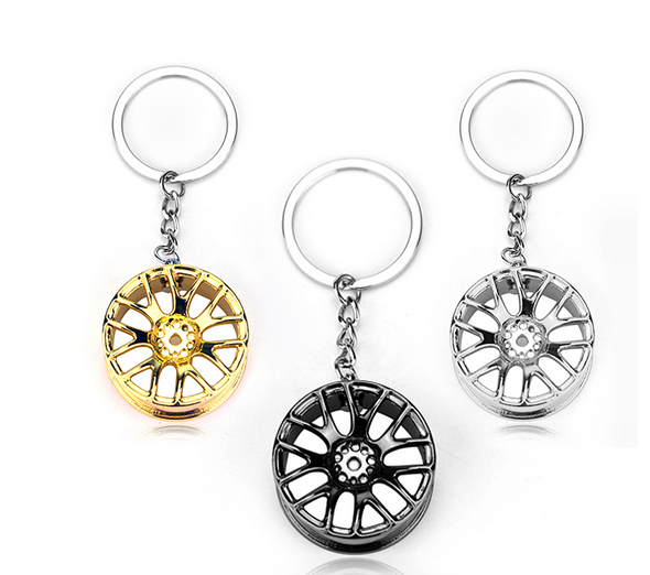Automotive Wheel Hub Key Ring Modified Car Parts Metal Key Chain Car Rims Tires Keychains Creative Gifts