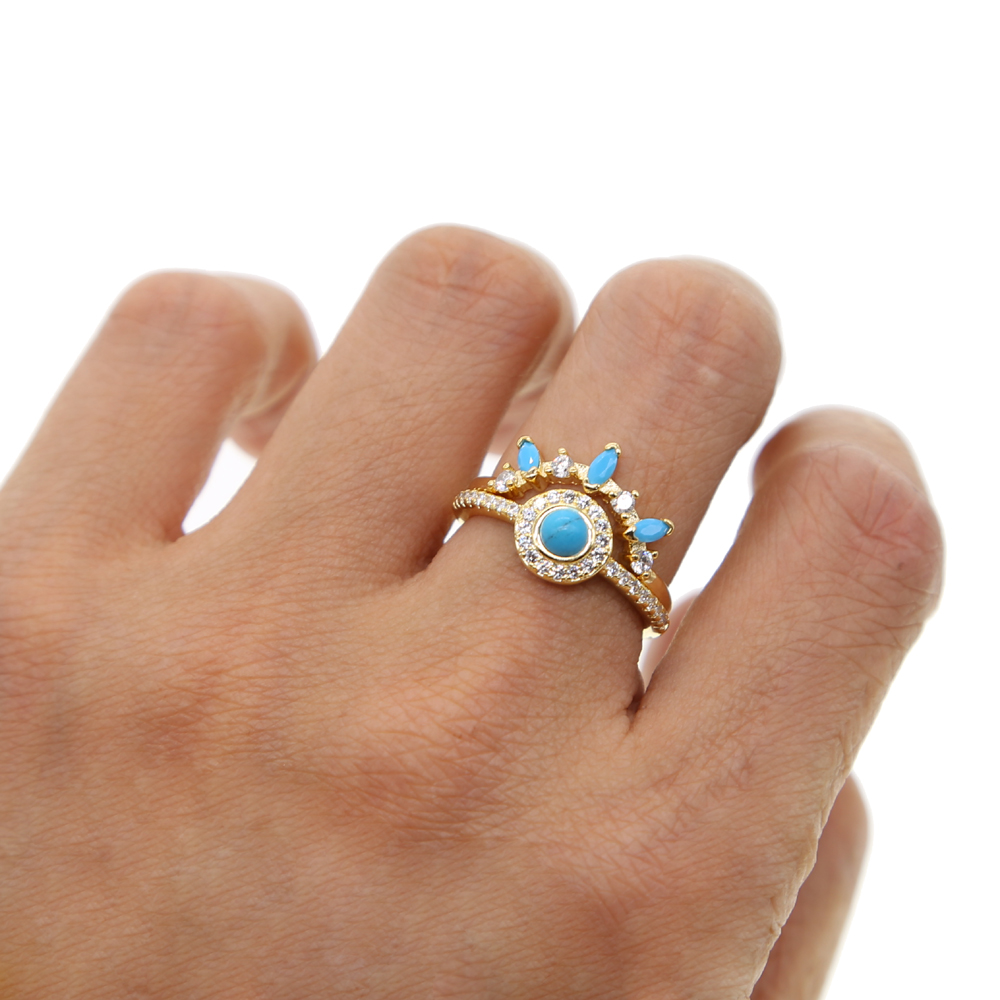 2018 new design set of 2 pcs couple jewelry pave blue turquoise cz fashion finger gold wedding ring