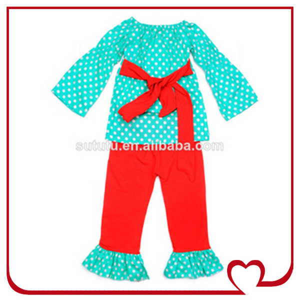 49e6262bc Latest Design Kids Girls Long Sleeve Polka Dots T-shirt Ruffle Pant ...