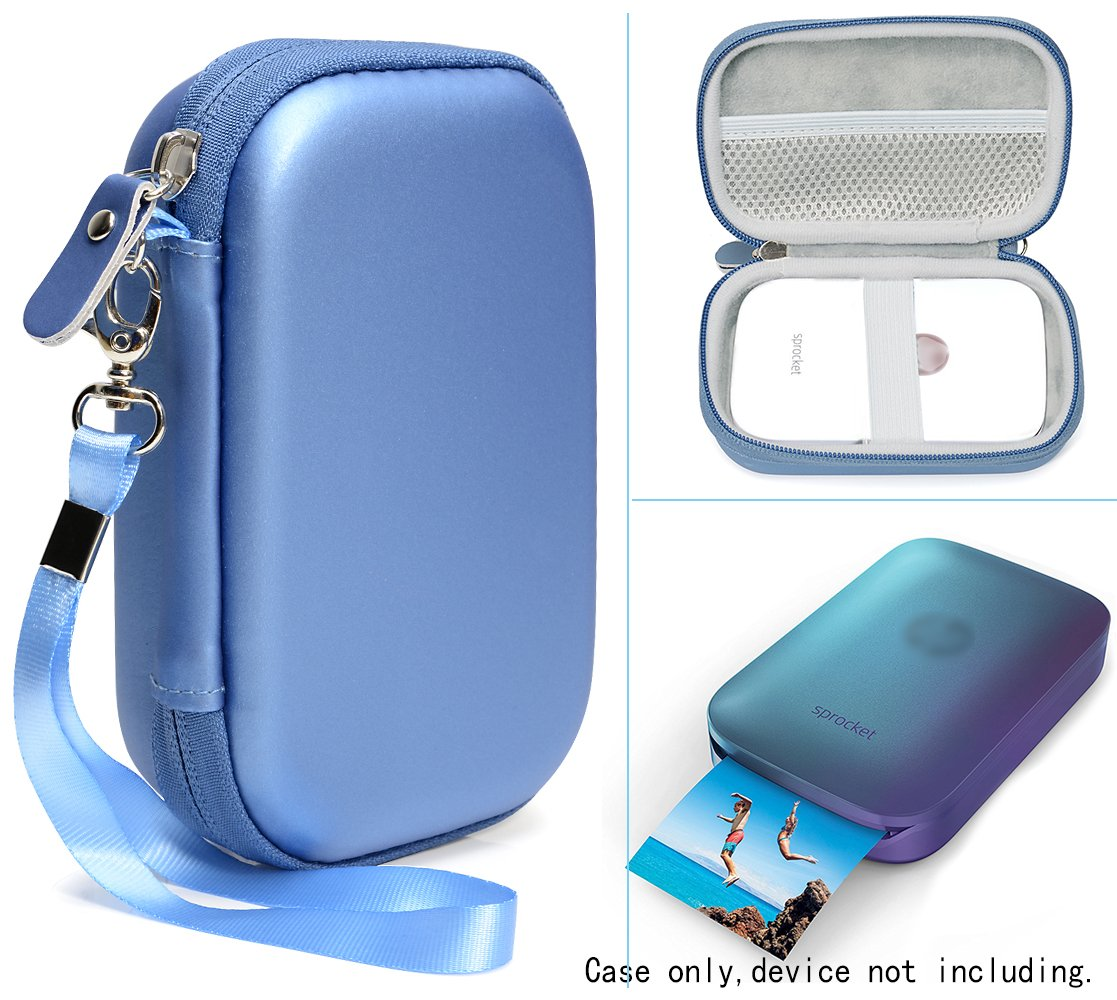 Portable Photo Printer Case for HP Sprocket Portable Photo Printer, Polaroid Zip Mobile Printer, Lifeprint 2x3 Photo and Video Printer, Mesh Pocket for Photo Paper and Cable, Compact (Blue)