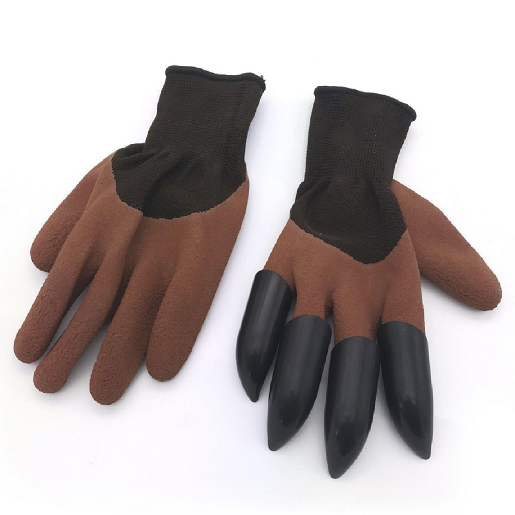 Garden Gloves with 4 Claws ABS Plastic Gardening Genie Rubber Gloves Quick Easy for Digging and Planting