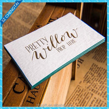 Top grade colored edge thick cotton paper business cards, deboss letterpress paper cards