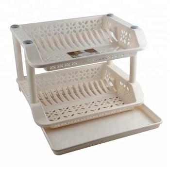 Toprank Kitchen Storage 2 Tier Plastic Dish Drainer Rack Drying Holder