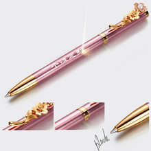 SQ 2017 new products on china market can customized logo novelty sakura clip shape metal gift ball pen