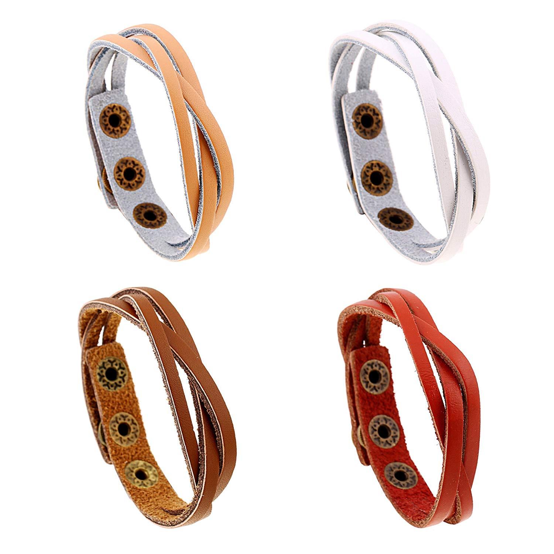 lauhonmin 4pcs Handmade Genuine Leather Bracelet for Women Men Wrist Wrap Cuff Bangle Wristbands Adjustable