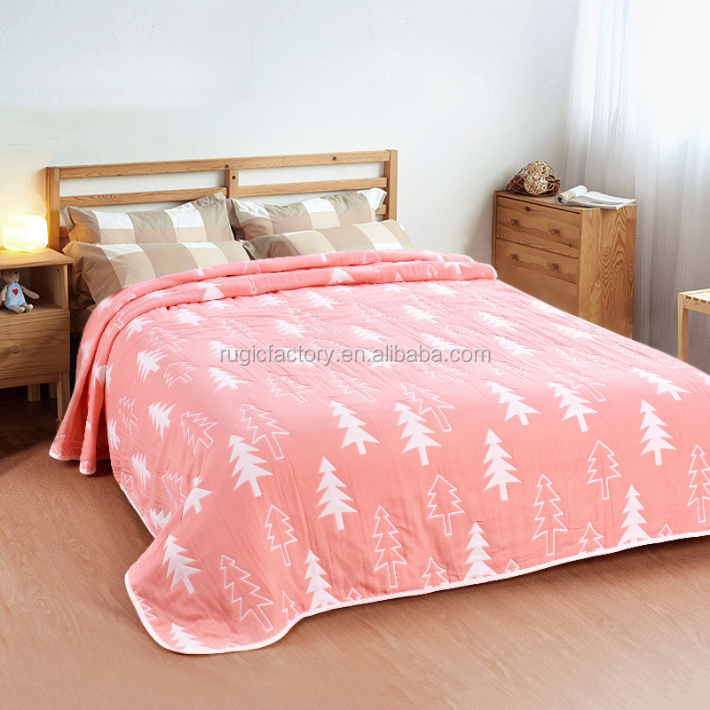 100% Cotton Spring Summer On The Bed Super Soft Breathable Blanket