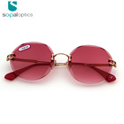 Professional wholesale sun glasses manufacturer red smart rimless sunglasses for face shape female