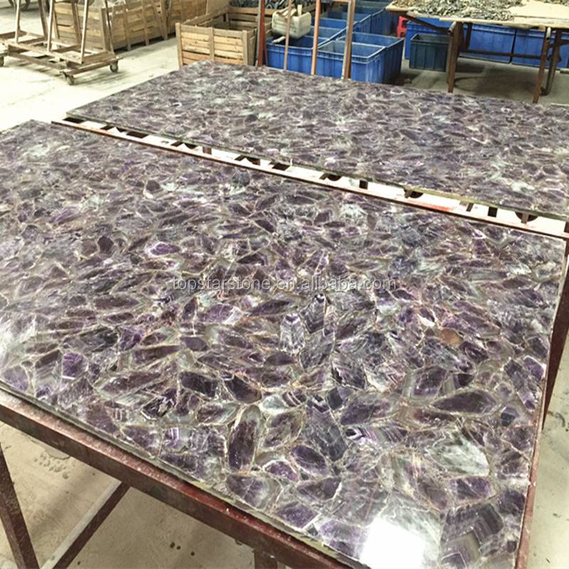 Luxurious Natural Stone Purple Amethyst Gemstone Semiprecious Stone Slab