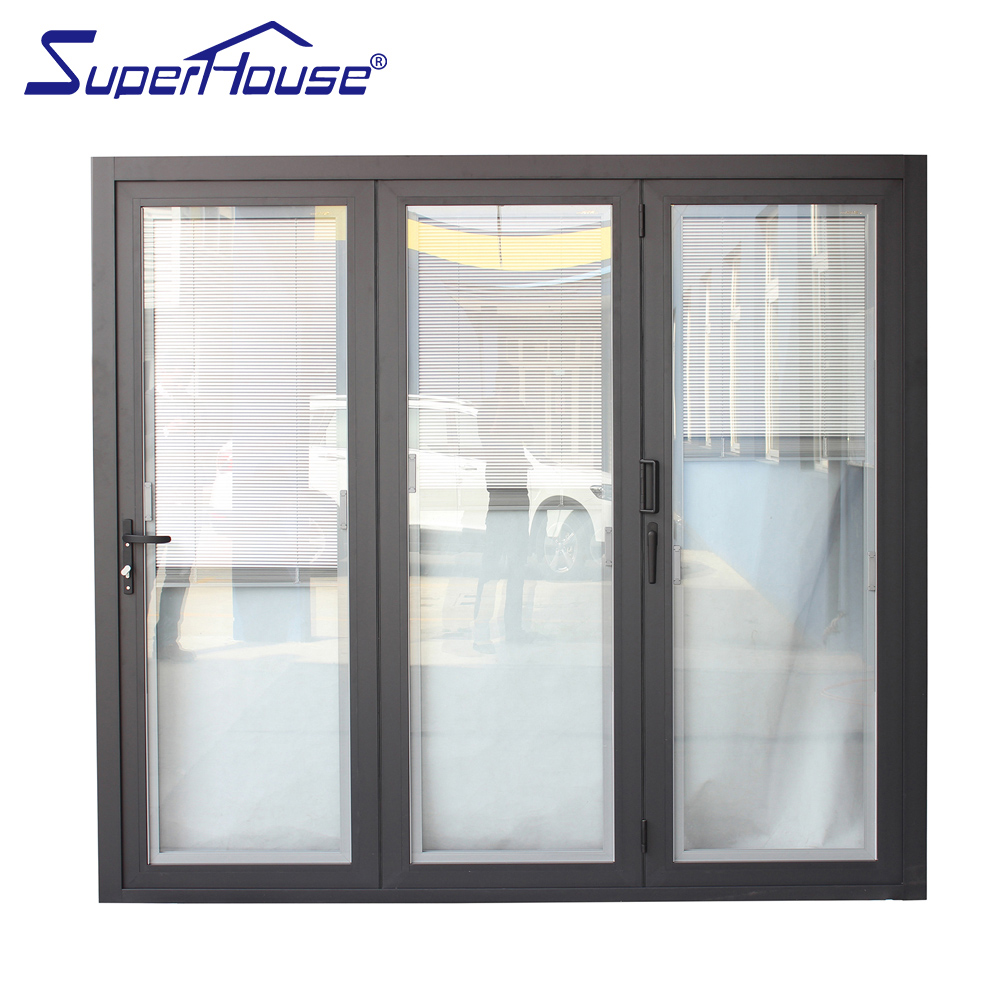 Miami-Dade County Approved blinds insert energy efficient aluminum glass folding door
