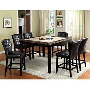Get Quotations · Belleview Counter Height Black Finish Faux Marble Table  Top 7 Piece Dining Set