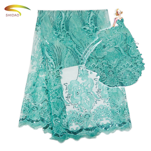 2017 Guangzhou African Latest Light Green Sequin Flower lace fabric for Saree border
