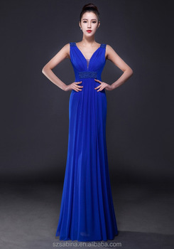Wholesale newest fashion sleeveless royal blue elegant evening dress 2017