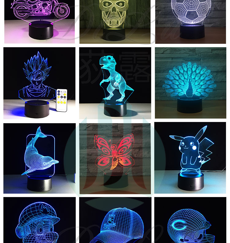 Multicolor Change Illusion Bulb Lamp Led Night Lights 3D Visual Led Night Light 3D LampS