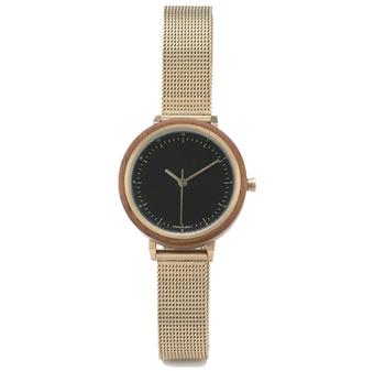 df48869fca7a Reloj de madera de cuarzo correa del acoplamiento del oro reloj OEM fábrica  Etiqueta Privada hombre