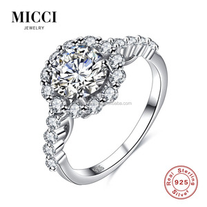 Women lucky stone luxury bamoer jewelry zircon ring 925 sterling silver rhodium plating fashion jewellery rings price