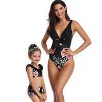 Mommey and Me One Piece Floral Print Swimsuits Family Matching Swimwear Monokini Bathing Suit Bikini Set