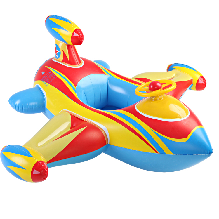 Qi Cai Bei baby child boat with a steering wheel of the new aircraft seat thickening inflatable boat race children swimming laps