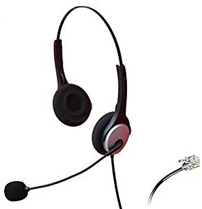 Audicom Binaural Call Center Telephone RJ Headset Noise Cancelling Headphone with Microphone for Grandstream GXP14XX GXV3275 IP Phones