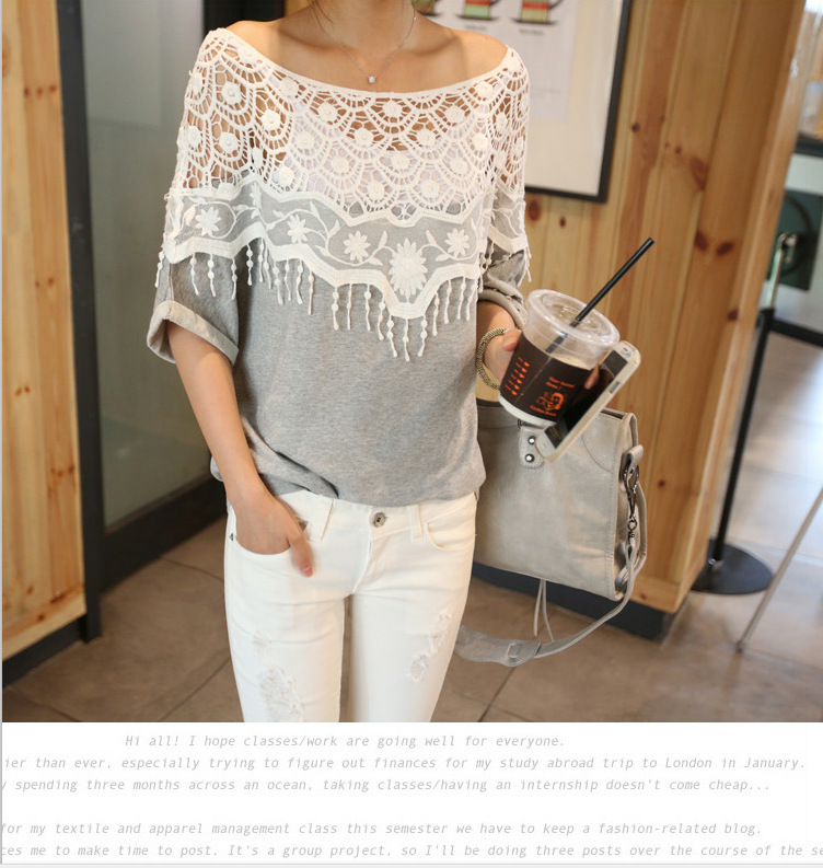 b23d3bec8037d New Fashion Women Lace Blouse Shirt Ladies Casual Summer Tops Hollow  Crochet Shawl Collar Sheer Blouses Black Plus Size M-5XL