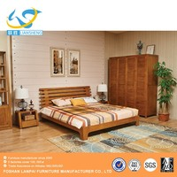 European simple Fashion Cheap KIng Size Nature/Walnut Ash solid wooden hotel home bedroom furniture bedroom set